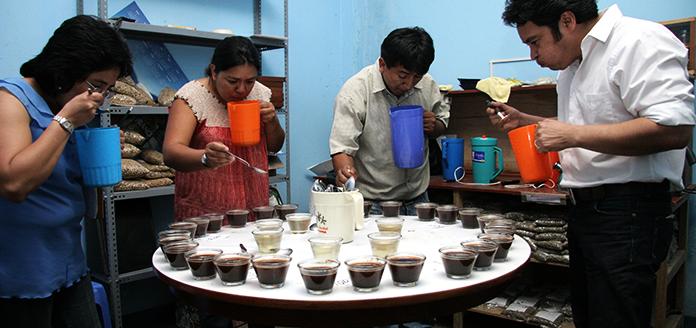 verkostung von kaffee durch verschiedene personen