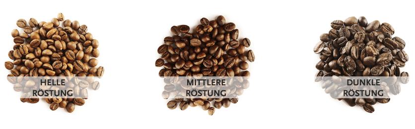 Kaffeebohnen: Röstgrade von hell bis dunkel