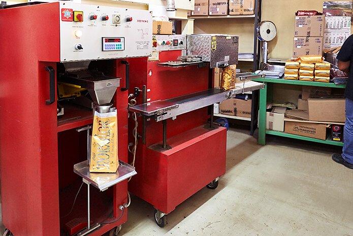 abfüllstation für die kaffeetüten