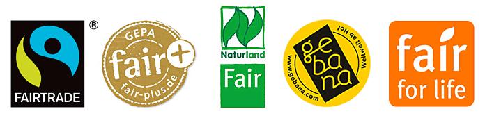 vielzahl von fairtrade-siegeln