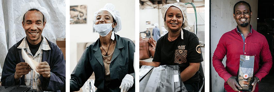 Porträts von Mitarbeitern von Solino Kaffee in Äthiopien