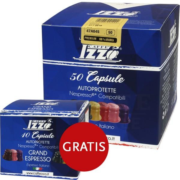 Izzo Premium 100 % Arabica, 50 + 10 Kapseln NES